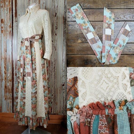 Vintage Chessa Davis Matching Maxi Skirt Blouse Sa