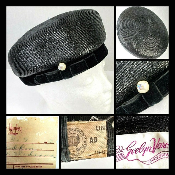 Vintage 1960s Evelyn Varon Exclusive Pill Box Hat