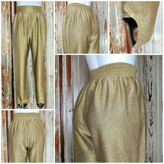 VTG 80s Metallic Gold Glitter Stretch Stirrup Pant