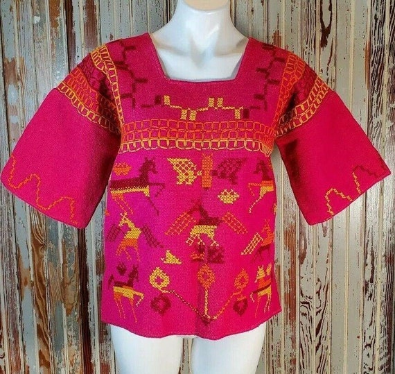 Vintage Tachi Castillo Mexican Embroidered Top Hui
