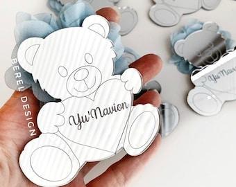 Handmade Set of 4 Wooden Heart Fridge Magnets Me To You Teddy Bear Print Design