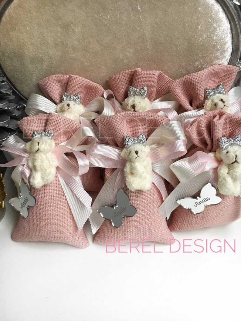 Baptism Favor Party Gifts Pink Teddy Bear Sachet Bags Baby Shower Gift Bags 10 pcs Bridal Shower Birthday Gifts Baby Girl Favors