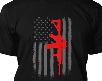 16f4756f AR 15 American Flag Military Army T Shirt Graphic Assault Rifle Tee
