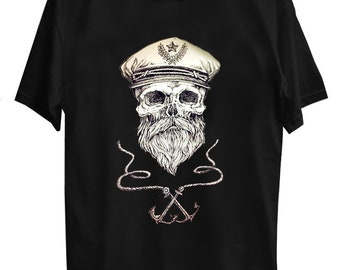 9ef5723d Sailor skull with two anchors Black T shirt,Sailor skull with two anchors  Shirt,Sailor skull with two anchors Tees, U-nisex Clothing