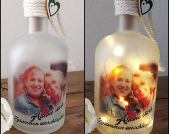 Photo on light bottle light bottle with photo partnership friendship friends mom mother mother's day dad baby birthday wedding Valentine's Day