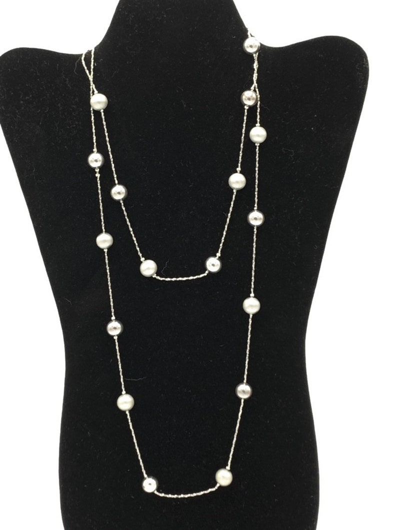 Vintage gray beads with silver chain necklace long