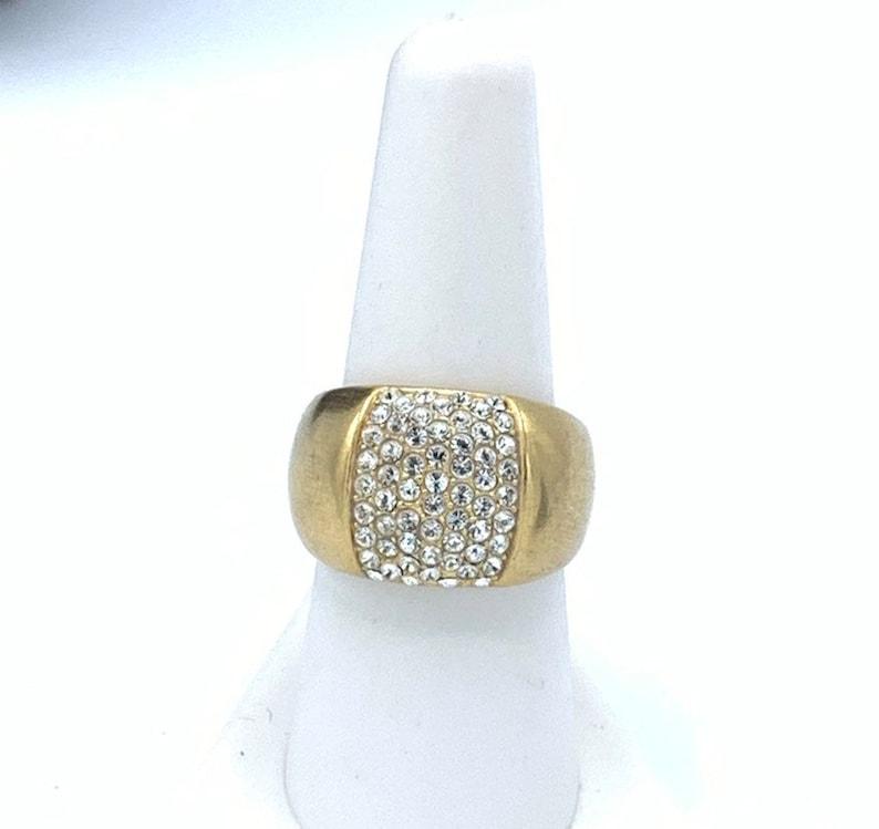 Multi rhinestone and gold tone ring  by Lia Sophia  size 8