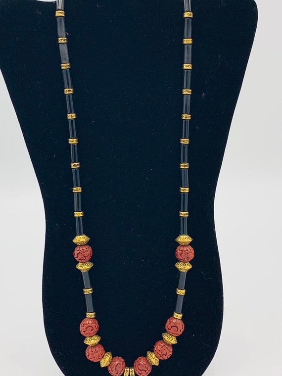Vintage carved  beads and  multicolored  necklace,