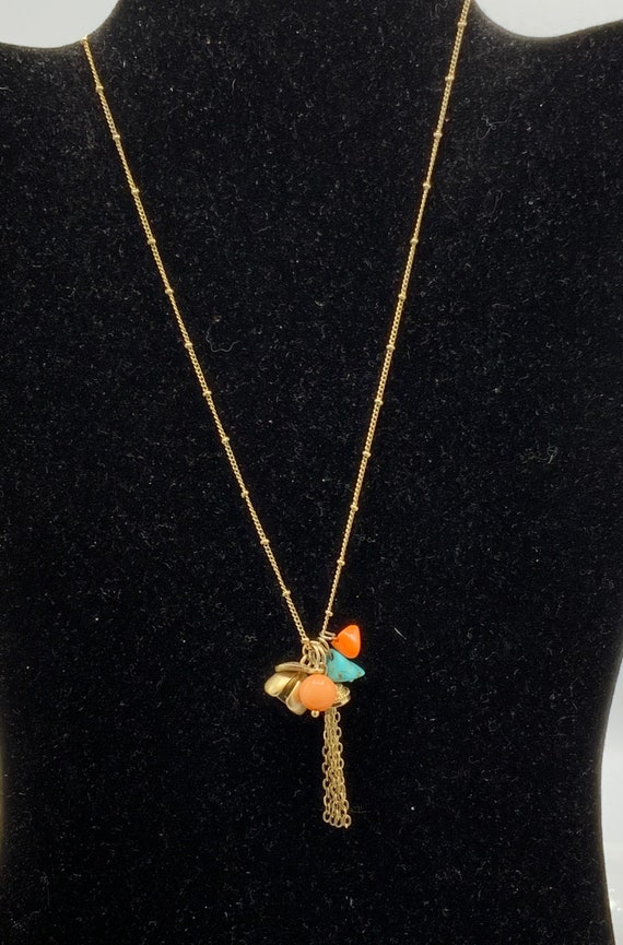 beads. turquoise Gorgeous gold tone with multicolored charms necklace by Lia Sophia