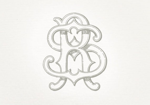 Vintage Wedding Monogram Rs Sr Wedding Invitation Digital Etsy
