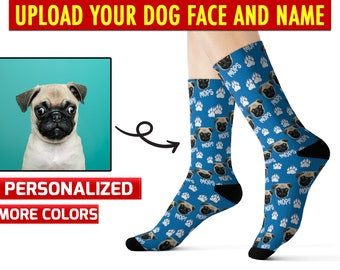 22b64966 Personalized your dog's face on socks, Put Any Dogs face On Socks, Socks  with dog Face & name, Upload Face Dog On Socks, Custom dog socks