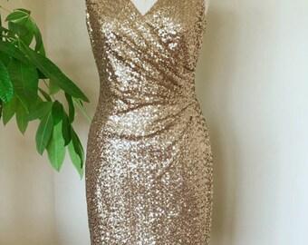 d3a74f876781 Vintage golden sequin dress, V neck short dress, sparkle cocktail dress