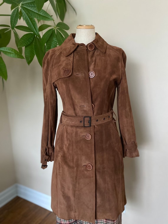 Suede trench jacket, brown leather trench coat, sp