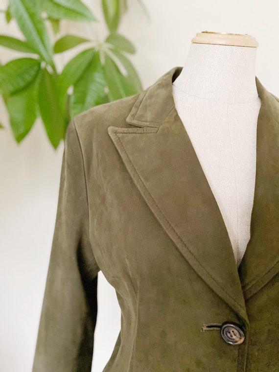 Vintage suede blazer, green leather blazer, spring