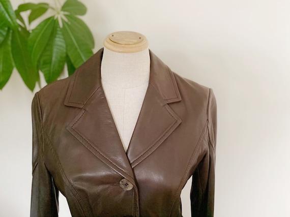 Vintage leather blazer, brown leather blazer, spri