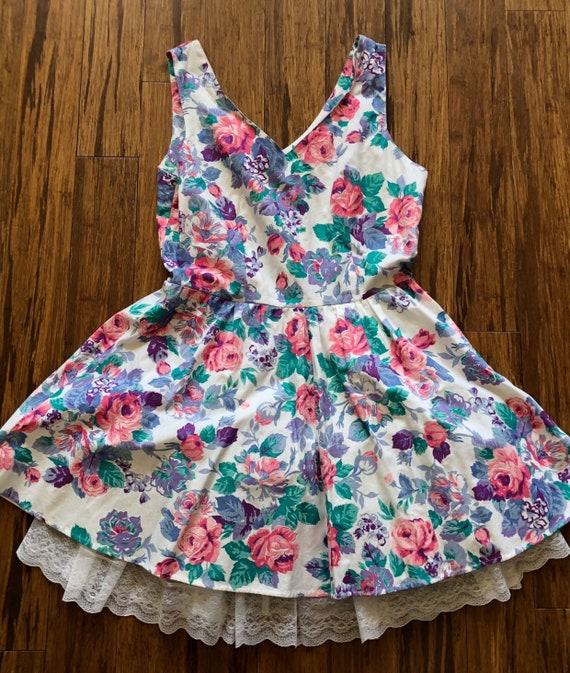1950s summer floral mini dress, floral A-line dres
