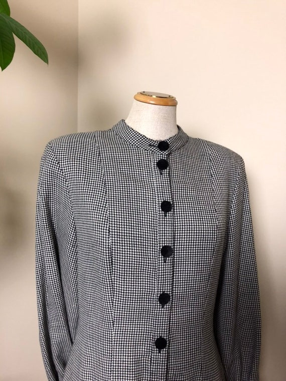 1970s vintage wool houndstooth long sleeve dress w