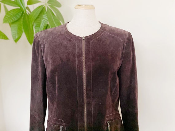 Spring leather jacket, brown leather jacket, suede