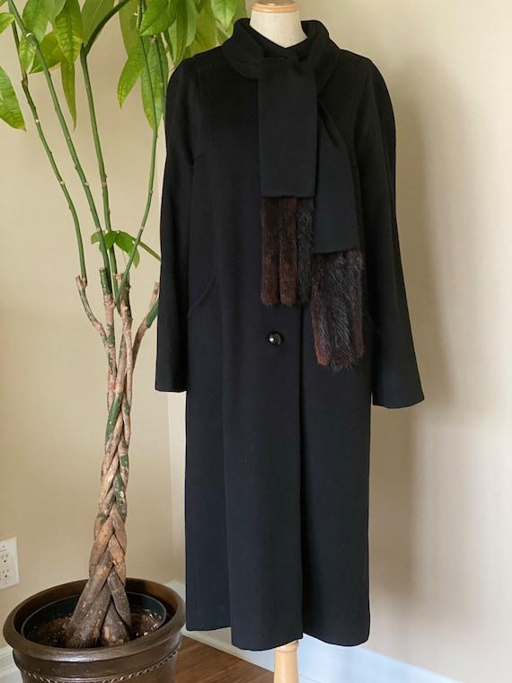 Pure wool black long coat