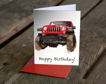 Jeep Birthday Card Or Any Occasion Customized Now Available In More Colors