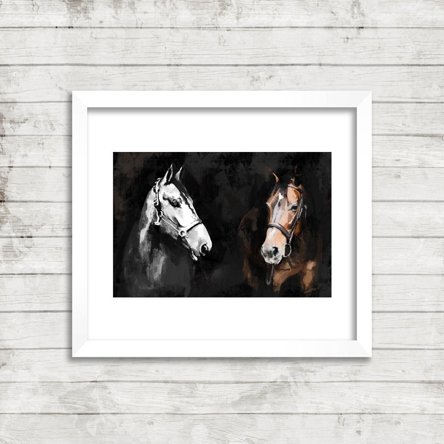 Wall Art Canvas Prints.Canvas Print Two Horses White And Brown Large Wall Art