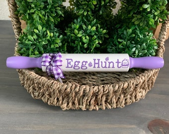 Farmhouse Small Rolling Pin for Spring and Easter Holiday home decor and tiered tray decor purple and white