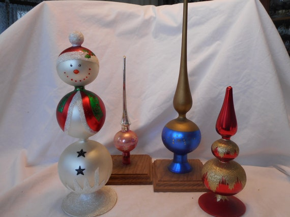 Vintage Christmas Tree Toppers.Vintage Tree Toppers Free Standing Glass