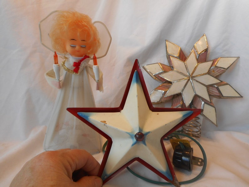 Vintage Christmas Tree Toppers.Vintage Christmas Tree Toppers Lighted Non Lighted Metal Star Angel