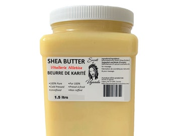 Pure Shea Butter - Vitellaria Nilotica (East African Shea Butter) Cold Pressed & Unrefined, 1.5 ltrs or 50.7 oz