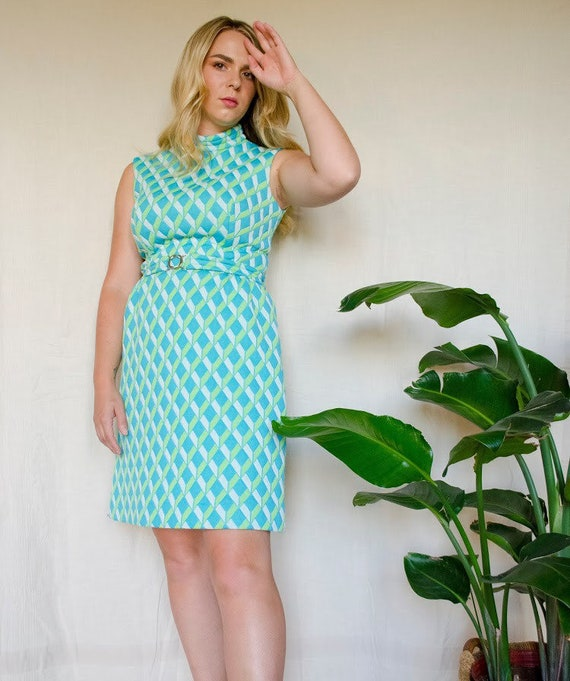 Vintage 1960s Ruth Norman for Gay Gibson Blue Gree