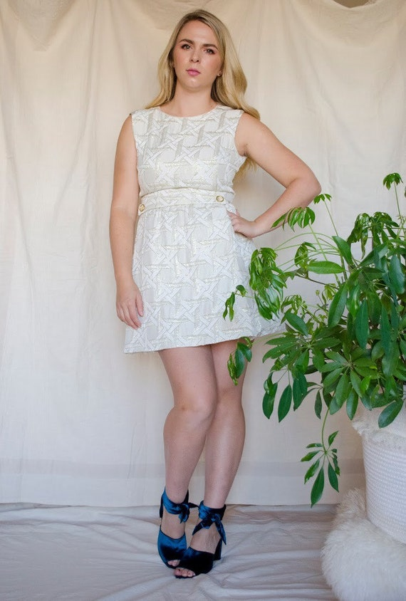 Vintage 60s Metallic Mod Mini Dress - image 4