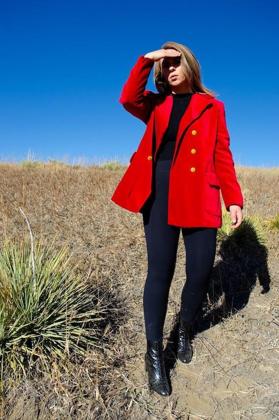 Vintage Escada Red Velvet Blazer - image 3