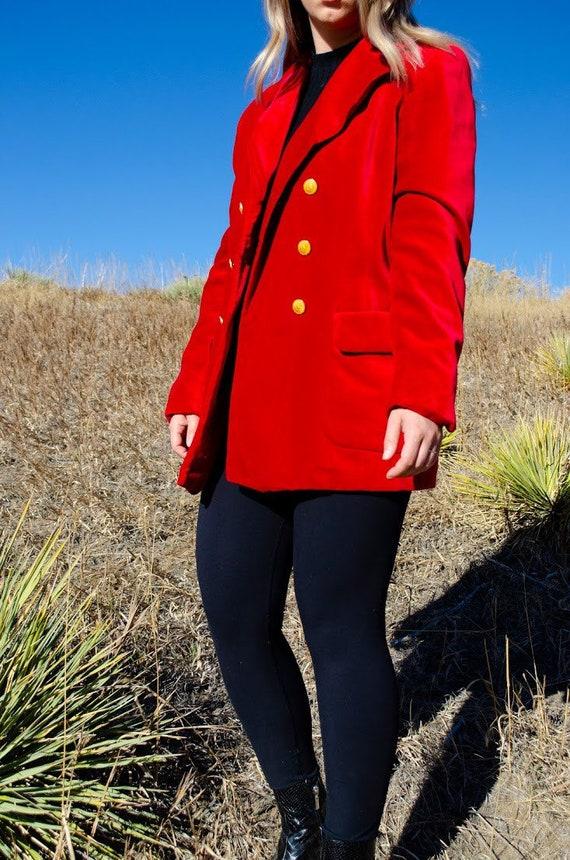 Vintage Escada Red Velvet Blazer - image 6