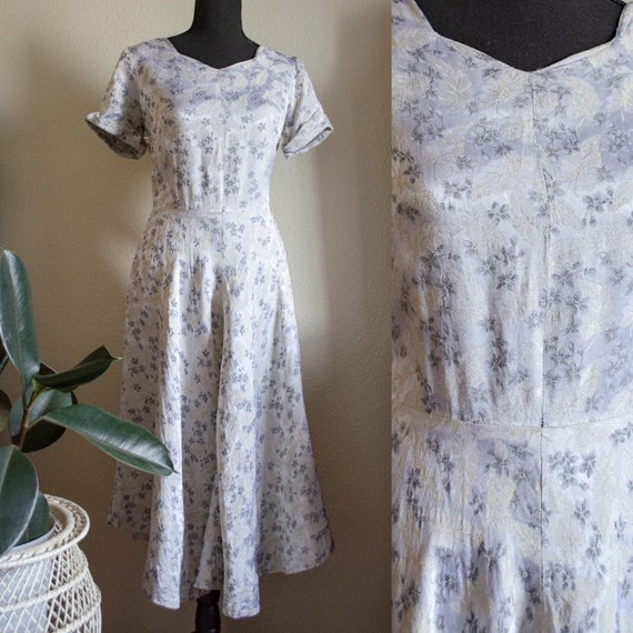 Vintage 1950s Silver Metallic Floral Dress
