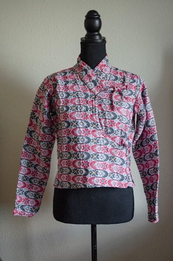 Vintage 1960s Gauzey Tapestry Folk Jacket