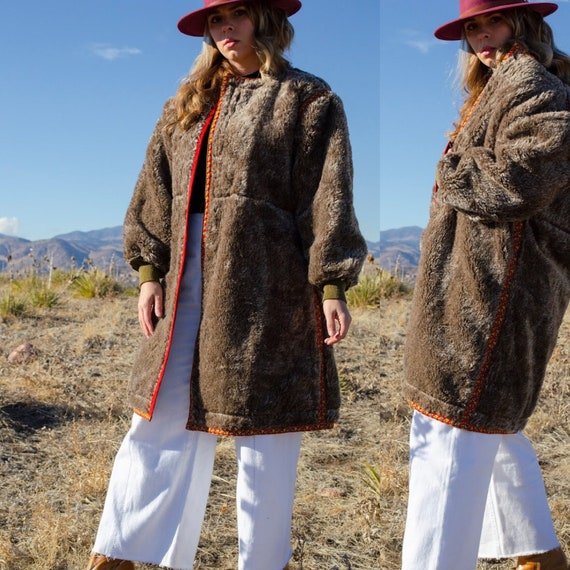 Vintage 1940s Faux Fur and Wool Coat