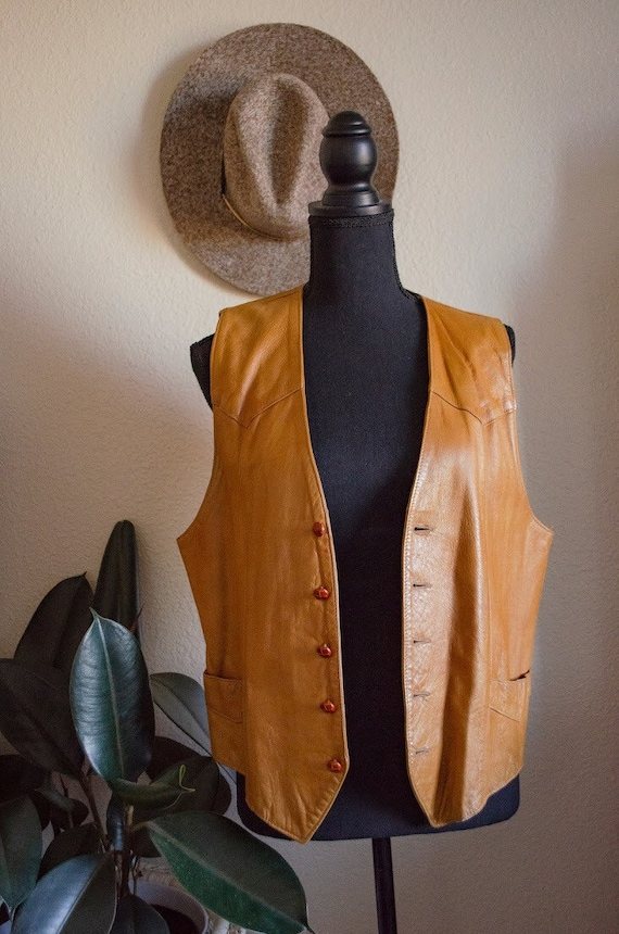 Vintage 70s Trego's Western Wear Cognac Leather Me