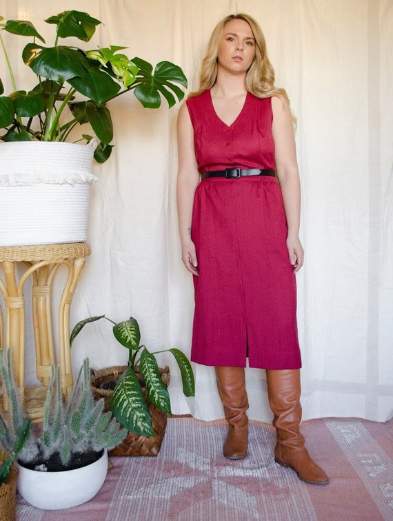 Vintage 1970s Linen Raspberry Red Belted Midi Dres