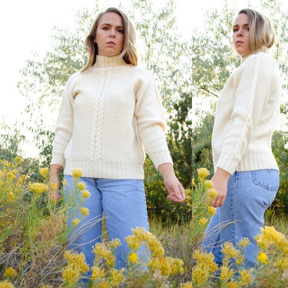 Vintage Ivory Cable Knit Wool Sweater