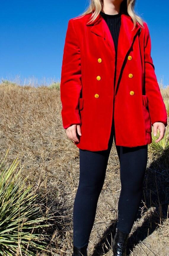 Vintage Escada Red Velvet Blazer - image 4