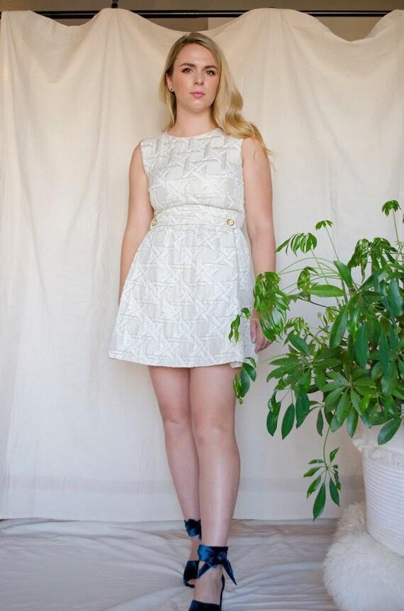 Vintage 60s Metallic Mod Mini Dress - image 8