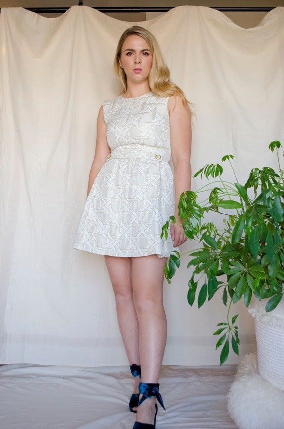 Vintage 60s Metallic Mod Mini Dress - image 2