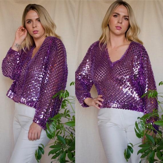 Vintage 1970s Lavender Sequin Disco Knit Blouse