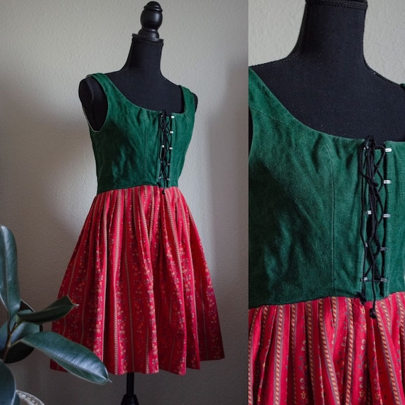 Vintage Red and Green Dirndl Dress