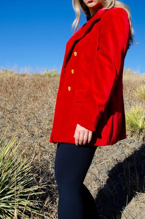 Vintage Escada Red Velvet Blazer - image 7