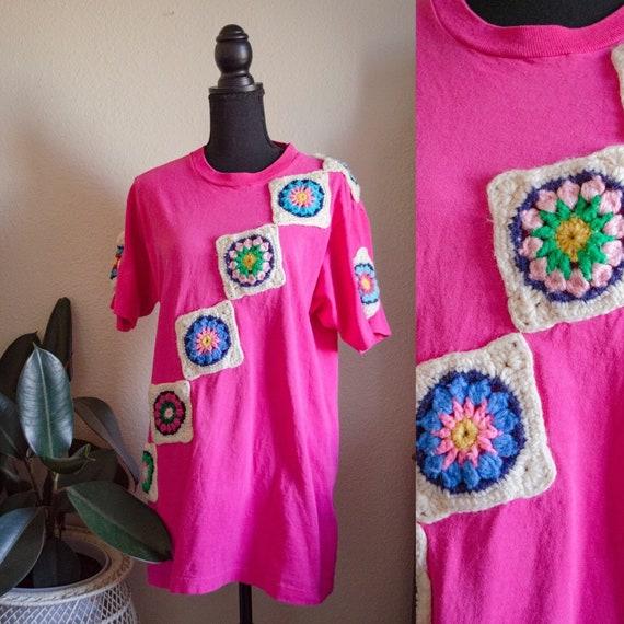Vintage Pink Crochet Appliqué Tee Shirt