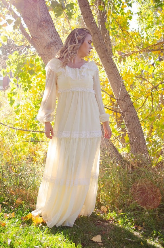 Vintage 1970s Ivory Ruffle Maxi Dress