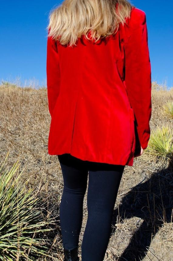 Vintage Escada Red Velvet Blazer - image 5