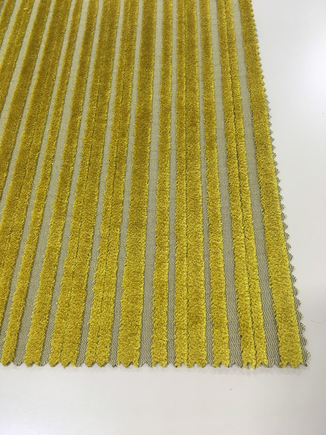 Striped Italia-Yellow Upholstery Fabric-Citrine Upholstery Fabric-Striped Velvet Upholstery-Commercial Upholstery-Upholstery Fabric