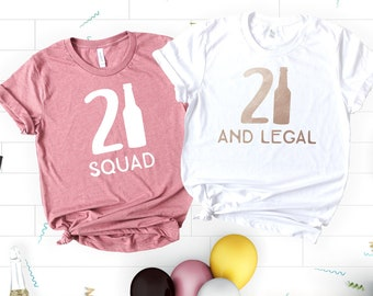 21st Birthday Shirt Party Shirts Girl Squad 21 And Legal Gift
